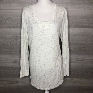 White & Speckled Long Sleeve Top Size XL